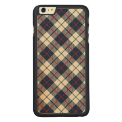 Navy Blue Plaid Pattern Carved® Maple iPhone 6 Plus Slim Case
