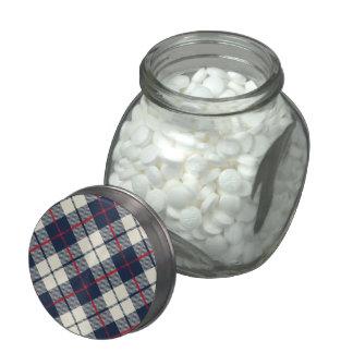 Navy Blue Plaid Pattern Glass Candy Jar