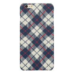 Navy Blue Plaid Pattern Glossy iPhone 6 Plus Case