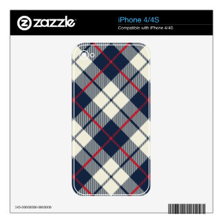 Navy Blue Plaid Pattern iPhone 4 Decal
