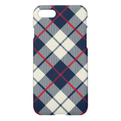 Navy Blue Plaid Pattern iPhone 7 Case