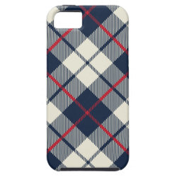 Navy Blue Plaid Pattern iPhone SE/5/5s Case
