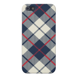 Navy Blue Plaid Pattern iPhone SE/5/5s Cover