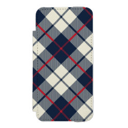 Navy Blue Plaid Pattern iPhone SE/5/5s Wallet Case