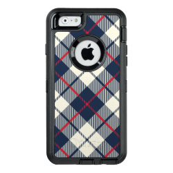 Navy Blue Plaid Pattern OtterBox Defender iPhone Case