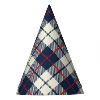 Navy Blue Plaid Pattern Party Hat