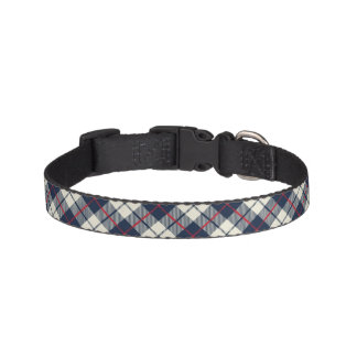 Navy Blue Plaid Pattern Pet Collar