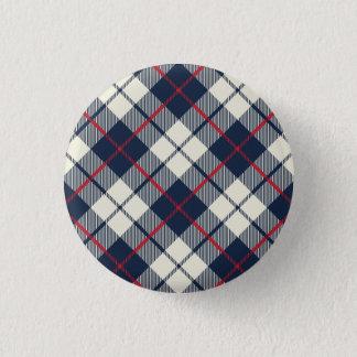 Navy Blue Plaid Pattern Pinback Button