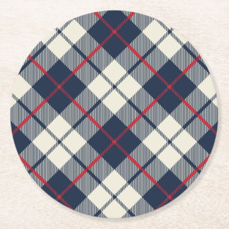 Navy Blue Plaid Pattern Round Paper Coaster