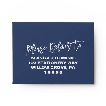 Navy Blue Please Deliver To Printed Address RSVP Envelope