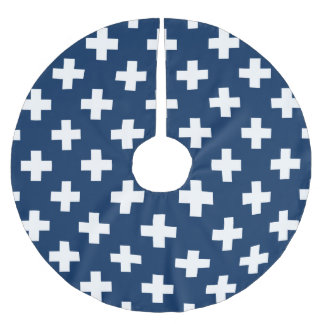 Navy Blue Plus Sign Pattern Brushed Polyester Tree Skirt