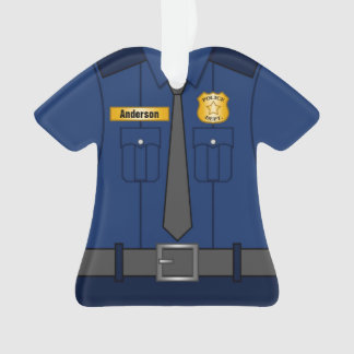 Navy Blue Police Officer Uniform Personalized Ornament
