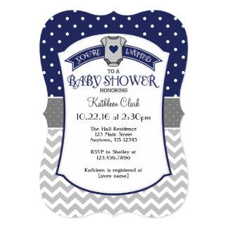 Navy Blue Polka Dot Chevron Baby Shower Invite