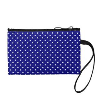 Navy blue polka dot pattern change purse