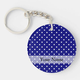 Navy blue polka dot pattern Double-Sided round acrylic keychain