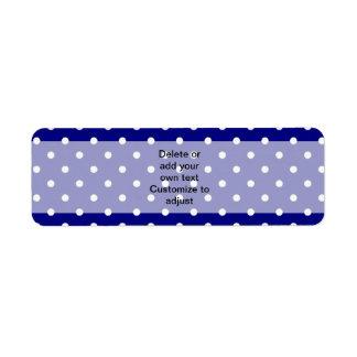 Navy blue polka dot pattern return address label