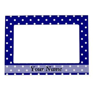 Navy blue polka dot pattern magnetic picture frame