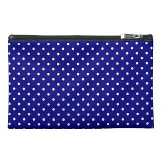 Navy blue polka dot pattern travel accessory bag