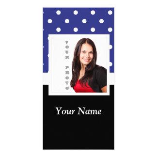 Navy blue polka dot photo template