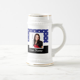 Navy blue polka dot photo template beer stein