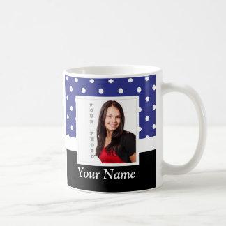 Navy blue polka dot photo template coffee mug
