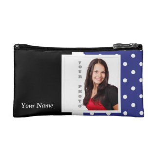 Navy blue polka dot photo template cosmetic bag