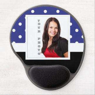 Navy blue polka dot photo template gel mouse pad