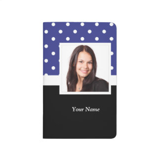 Navy blue polka dot photo template journal
