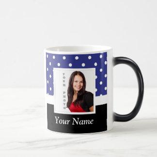 Navy blue polka dot photo template magic mug