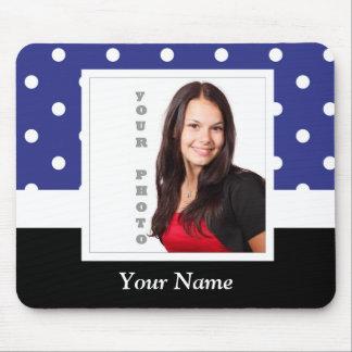 Navy blue polka dot photo template mouse pad