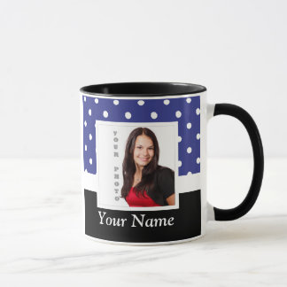Navy blue polka dot photo template mug