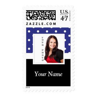 Navy blue polka dot photo template postage
