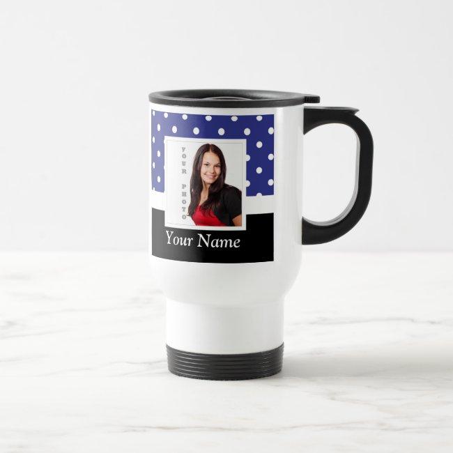 Navy blue polka dot photo template travel mug