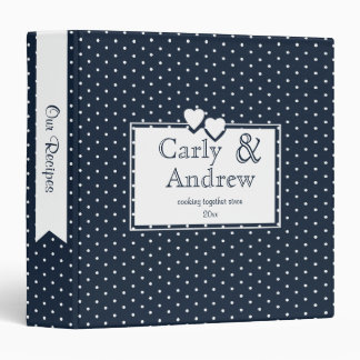 Navy Blue Polka Dot Recipe Binder