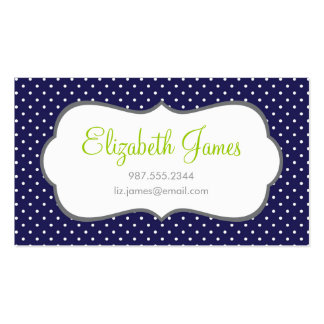 Navy Blue Polka Dots Business Card Template