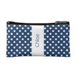 Navy Blue Polka Dots Custom Gift Item P031 Makeup Bags