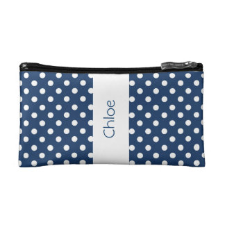 Navy Blue Polka Dots Custom Gift Item P031 Makeup Bags
