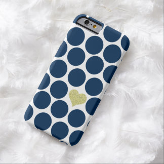 Navy Blue Polka Dots Glitter Heart iPhone Barely There iPhone 6 Case