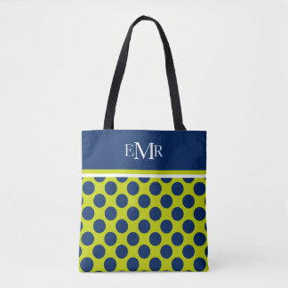 Navy Blue Polka Dots on Lime Green Monogram Tote Bag