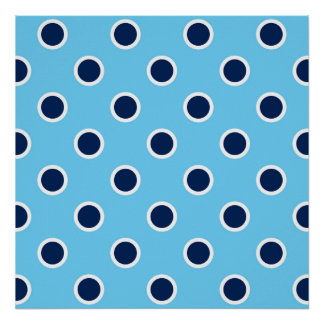 Navy Blue Polka Dots on Sky Blue Square Poster