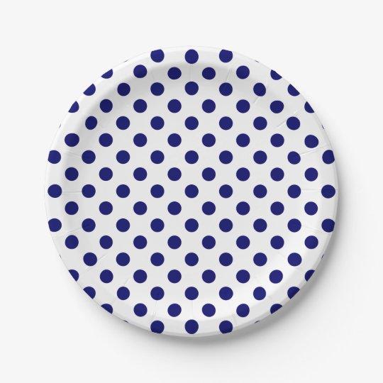 navy blue polka dots on white paper plate. Black Bedroom Furniture Sets. Home Design Ideas