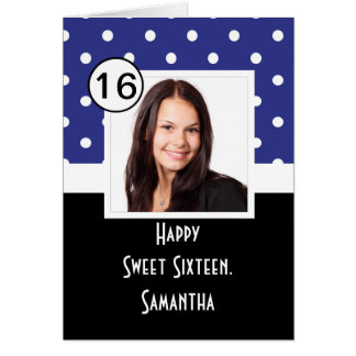 Navy Blue polkadot sweet sixteen Card