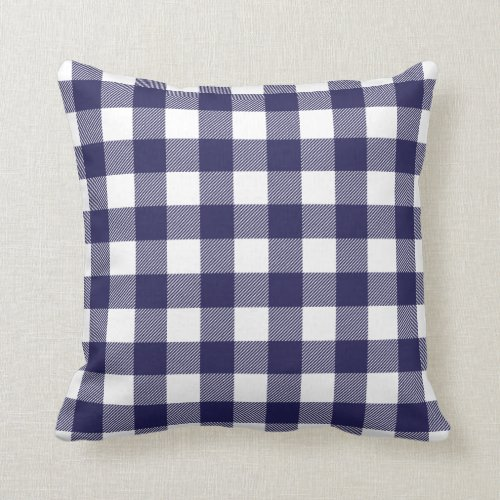 Small Pattern Navy and White Check Toss Pillow