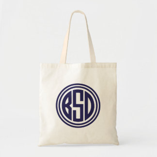 Navy Blue Preppy Circle Monogram - BSD Tote Bag