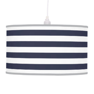 Navy Blue Preppy Nautical Stripes Hanging Lamp