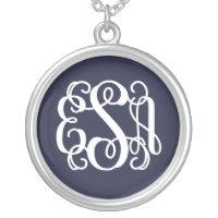 Navy Blue Preppy Script Monogram - ESA Silver Plated Necklace