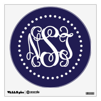 Navy Blue Preppy Script Monogram NST Wall Decal