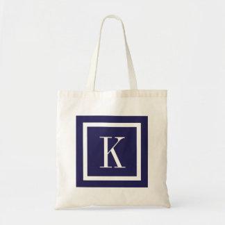 Navy Blue Preppy Square Monogram Tote Bag
