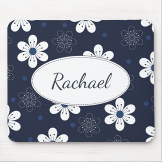 Navy Blue Pretty Floral Personalised Mouse Pad