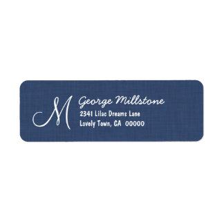 NAVY BLUE Printed Linen Textured Monogram M Return Address Label
